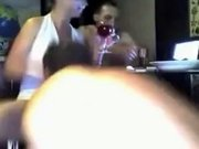 Mature russian woman drinks wine with two men and then fucks