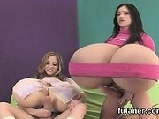 Horny teens bang the biggest strapons and spray love juice e