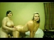 2 Horny Chubby Lesbians GF s rubbing their wet bodies