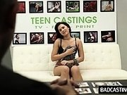 Shy teen shows curvy body in interview