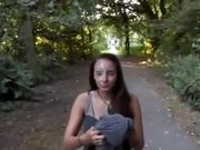Gf receives a huge load on her face in a public park!