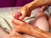 Asian Wife gives teasing footjob