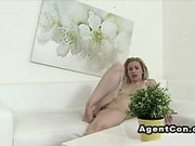 Fake agent records blonde while suck his big cock